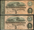 Confederate Notes:1864 Issues, T69 $5 1864 Consecutive Pair Choice About Uncirculated.. ... (Total: 2 notes)