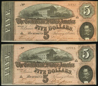 T69 $5 1864 Consecutive Pair Choice About Uncirculated. ... (Total: 2 notes)