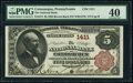 Catasauqua, PA - $5 1882 Brown Back Fr. 474 The National Bank of Catasauqua Ch. # 1411 PMG Extremely Fi