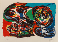 Karel Appel (1921-2006) Four Heads, 1966 Lithograph in colors on Rives BFK paper 17-3/4 x 26-1/4 inches (45.1 x 66.7