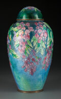 Metalwork, Camille Fauré Enameled Copper Wisteria Vase with Cover. Marks: Fauré, Limoges, ...