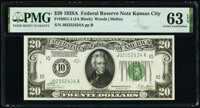 Fr. 2051-J $20 1928A Federal Reserve Note. PMG Choice Uncirculated 63 EPQ