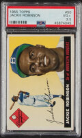 Baseball Cards:Singles (1950-1959), 1955 Topps Jackie Robinson #50 PSA VG+ 3.5. In the...