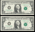 Small Size:Federal Reserve Notes, Fr. 1917-F $1 1988A Web Federal Reserve Notes. Crisp Uncirculated, block F-N, run 12, plate combo 3-2.. ... (Total: 2 notes)