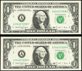 Fr. 1917-A $1 1988A Web Federal Reserve Notes. Two Examples. Crisp Uncirculated or Better, block A-F, run 1, plate co