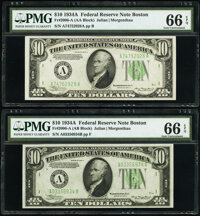 Fr. 2006-A $10 1934A Federal Reserve Notes. A-A and A-B Blocks. PMG Gem Uncirculated 66 EPQ. ... (Total: 2 notes)