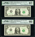 Repeater Serial Numbers 09500950 and 09510951 Fr. 1930-B $1 2003A Federal Reserve Notes. PMG Graded Gem Uncirculated 66...