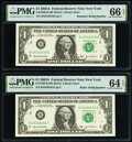 Small Size:Federal Reserve Notes, Radar Serial Number 10166101 and Repeater Serial Number 10161016 Fr. 1930-B $1 2003A Federal Reserve Notes. PMG Graded Choice ... (Total: 2 notes)