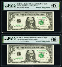 Repeater Serial Numbers 10211021 and 10221022 Fr. 1930-B $1 2003A Federal Reserve Notes. PMG Graded Gem Uncirculated 66...