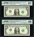 Radar Serial Number 10177101 and Repeater 10171017 Fr. 1930-B $1 2003A Federal Reserve Notes. PMG Graded Gem Uncirculate...