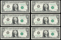 Small Size:Federal Reserve Notes, Fr. 1923-B $1 1995 Federal Reserve Web Notes Six Examples Choice Crisp Uncirculated, block B-H, run 6, plate combo 6-8.. ... (Total: 6 notes)