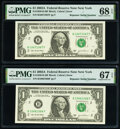 Repeater Serial Numbers 10661066 and 10671067 Fr. 1930-B $1 2003A Federal Reserve Notes. PMG Graded Superb Gem Unc 67 EP...
