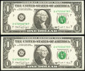 Small Size:Federal Reserve Notes, Fr. 1917-G $1 1988A Web Federal Reserve Notes. Two Examples Crisp Uncirculated, block G-P, run 8, plate combo 4-8.. ... (Total: 2 notes)