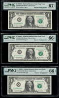 Small Size:Federal Reserve Notes, Radar and Repeater Serial Numbers 11566511, 11571157, and 11581158 Fr. 1930-B $1 2003A Federal Reserve Notes. PMG Graded Super... (Total: 3 notes)