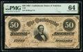 Confederate Notes:1864 Issues, T66 $50 1864 PF-6 Cr. UNL PMG Choice Uncirculated 64.. ...