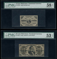 Fr. 1226 3¢ Third Issue PMG Choice About Unc 58 EPQ; Fr. 1294 25¢ Third Issue PMG About Uncirculated 53 EPQ...