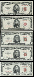 Small Size:Legal Tender Notes, Fr. 1533 $5 1953A Legal Tender Notes. About Uncirculated (2);. Fr. 1536* $5 1963 Legal Tender Star Notes. Crisp Uncirculat... (Total: 5 notes)