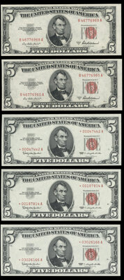 Fr. 1533 $5 1953A Legal Tender Notes. About Uncirculated (2); Fr. 1536* $5 1963 Legal Tender Star Notes. Crisp Uncircula...