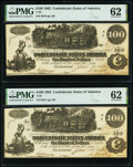 Confederate Notes:1862 Issues, T39 $100 1862 PF-5 Cr. 291 Two Examples PMG Uncirculated 62.. ... (Total: 2 notes)