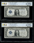 Fr. 1602/Fr. 1601 $1 1928B/1928A Silver Certificates. Reverse Changeover Pair. PCGS Banknote Graded Uncirculated 62 PPQ;...