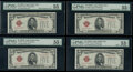 Small Size:Legal Tender Notes, Changeover Pair Fr. 1527 $5 1928B Mule/Mule/Non-Mule/Non-Mule Legal Tender Notes. Four Consecutive Examples. PMG Graded About...