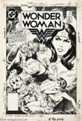 Original Comic Art:Covers, Eduardo Barreto - Original Cover Art for Wonder Woman #317 (DC,1984). Steve and Sofia are confronted by Cerberus, the three...