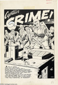 "Original Comic Art:Splash Pages, Johnny Craig - Original Splash Page Art for Crime Patrol #7 (EC,1948). Captain Crime launches a counter-offensive on ""the F..."