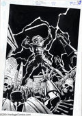 Original Comic Art:Covers, Roger Robinson and Dennis Janke - Original Cover Art for Steel #33(DC, 1996). Steel struggles to climb from a skull-lined g...