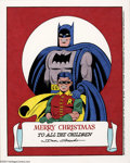 Original Comic Art:Splash Pages, Dick Sprang - Original Illustration of Batman and Robin (NoPublisher, 1993). The Dynamic Duo wish all the children a Merry ...
