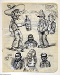 """Original Comic Art:Sketches, Robert Crumb - Original Sketchbook Page, """"Bueno (Tequila Pride)"""" (1970s). R. Crumb likes to sketch while listening to his co..."""