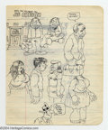 """Original Comic Art:Sketches, Robert Crumb - Original Sketchbook Page, """"Joe Ballzitch"""" (1970s). Some loose sketches fill the first side of this vintage pa..."""