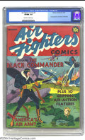 Golden Age (1938-1955):War, Air Fighters Comics #1 (Hillman Fall, 1941) CGC VF/NM 9.0 Off-whiteto white pages. The Black Commander headlines this premi...