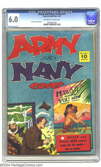 Army and Navy Comics #1 (Street & Smith, 1941) CGC FN 6.0 Off-white to white pages. Jack Farr cover and art. This se...