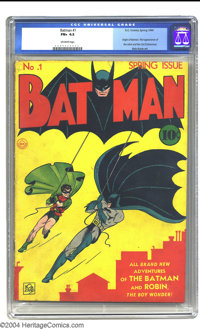 Batman #1 (DC, 1940) CGC FN+ 6.5 Off-white pages. One of the most coveted comics of the Golden Age, Batman #1 offers man...