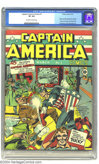 Captain America Comics #1 (Timely, 1941) CGC VF 8.0 Off-white to white pages. With a sock to Hitler's jaw, Captain Ameri...