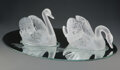Glass, Pair of Lalique Clear and Frosted Glass Cygne Tete Droite and Cygne Tete Pench...