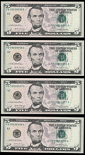 Small Size:Federal Reserve Notes, Six of a Kind - Near-Solid Serial Numbers 09999995-98 Fr. 1998-B $5 2017A Federal Reserve Notes. Choice Crisp Uncirculated.... (Total: 4 notes)