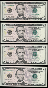 Six of a Kind - Near-Solid Serial Numbers 09999995-98 Fr. 1998-B $5 2017A Federal Reserve Notes. Choice Crisp Uncirculat...