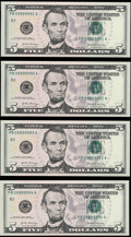 Six of a Kind - Near-Solid Serial Numbers 09999991-94 Fr. 1998-B $5 2017A Federal Reserve Notes. Choice Crisp Uncirculat...