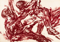 Leon Albert Golub (1922-2004) Man and Woman, 1950 Lithograph in colors on wove paper 41-1/2 x 29-