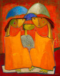 Paintings, Angel Botello (1913-1986). Reds and Oranges with Umbrella, circa 1984. Oil on board. 30 x 24 inches ...