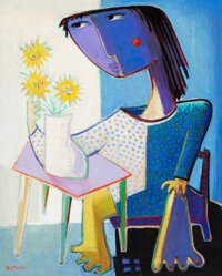 Angel Botello (1913-1986) Girl Seated with Flowers, circa 1984 Oil on board 30 x 24 inches (76.2 x 61 cm) Signed low