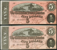 T69 $5 1864 PF-7 Cr. 561 Two Examples Crisp Uncirculated. ... (Total: 2 notes)
