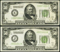 Fr. 2101-E; J $50 1928A Federal Reserve Notes. Very Fine; About Uncirculated. ... (Total: 2 notes)