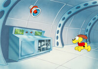 """Garfield: His 9 Lives """"Space Cat"""" Production Cel Setup with Key Master Background (Film Roman, 1988)"""