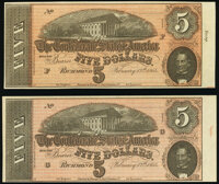 T69 $5 1864 PF-12 Cr. UNL Two Examples Remainders Extremely Fine-About Uncirculated. ... (Total: 2 notes)