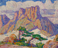 Birger Sandzén (American, 1871-1954) At The Timberline, Pike's Peak, Colorado, 1925 Oil on canvas 20 x 24 inches...