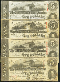 T60 $5 1863 Four Examples Fine or Better. ... (Total: 4 notes)