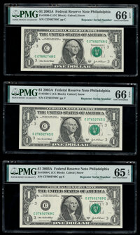 Repeater Serial Numbers 27682768; 27652765; 27692769 Fr. 1930-C $1 2003A Federal Reserve Notes. PMG Gem Uncirculated 66...