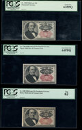 Fr. 1308 25¢ Fifth Issue PCGS Choice New 63PPQ; Fr. 1309 25¢ Fifth Issue (2) PCGS Very Choice New 64PPQ; New 6...